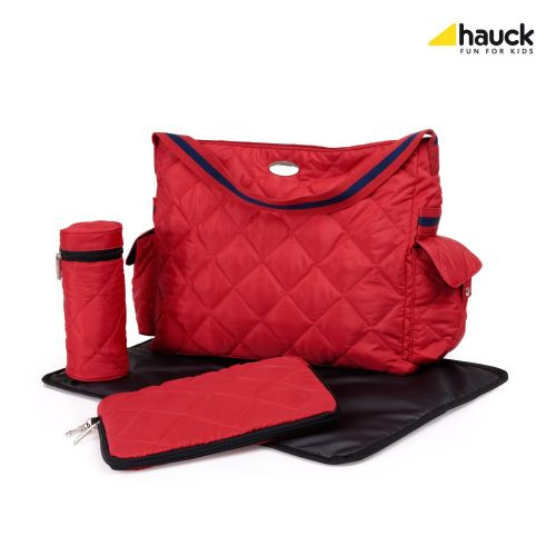 NEW Hauck Gino nappy changing bag+mat+insulated bottle holder+Messy bag in RED